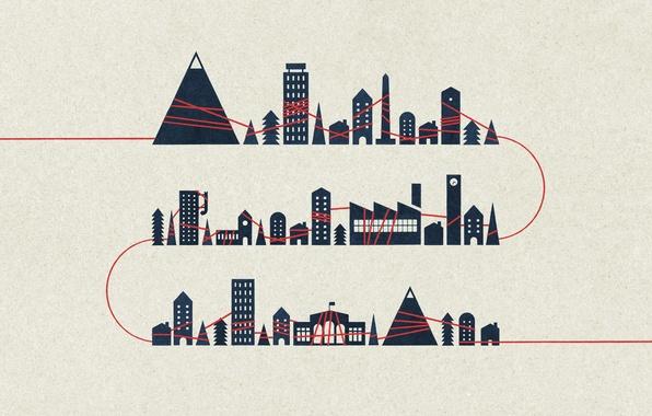 Картинка деревья, горы, креатив, фон, обои, дома, минимализм, арт, картинка, нить