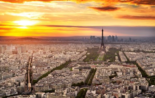 Картинка небо, облака, закат, город, эйфелева башня, париж, франция, paris, france