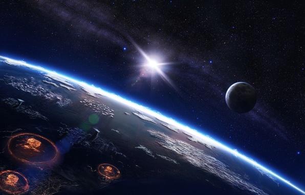 Картинка солнце, космос, звезды, ночь, путь, война, планета, взрывы, млечный