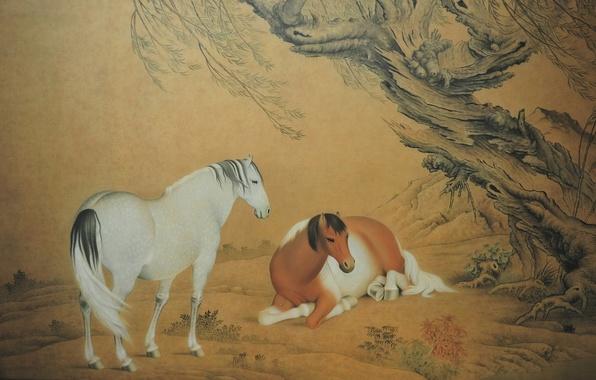 Картинка природа, дерево, картина, лошади, пара, желтый фон, nature, wood, tree, horses, couple, китайская живопись, Chinese …
