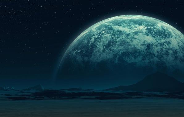 Картинка звезды, поверхность, горы, планета, спутник