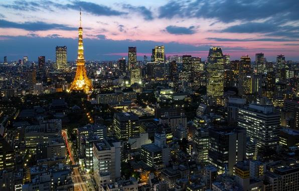 Картинка небо, облака, закат, огни, здания, башня, дома, небоскребы, вечер, Япония, освещение, Токио, Tokyo, Japan, мегаполис, ...