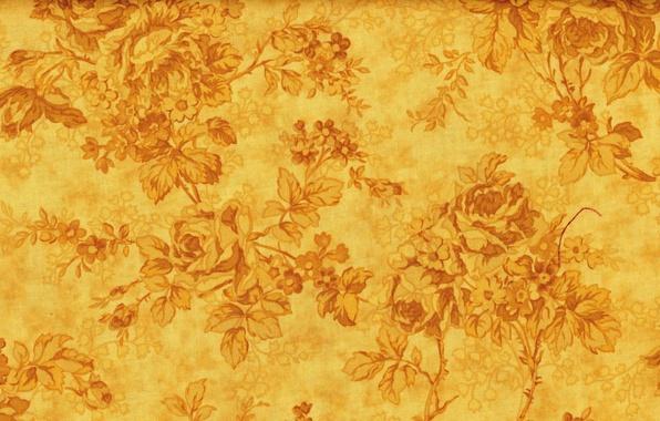 Картинка цветы, желтый, фон, узоры, текстура, золотой