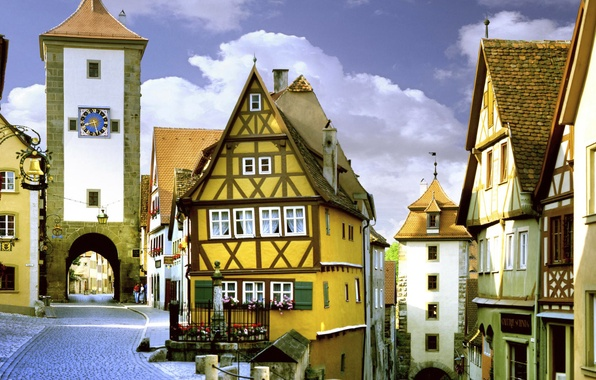 Картинка небо, улица, часы, башня, дома, ворота, Германия, Бавария, Rothenburg