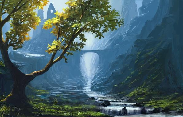 Картинка трава, горы, мост, природа, река, камни, дерево, скалы, поток, долина, арт, арка, руины