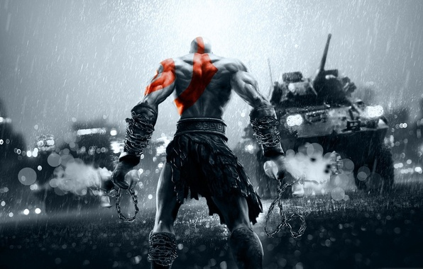 Картинка city, China, red, sword, gun, game, rain, weapon, grey, war, Kratos, God of War, Battlefield, …