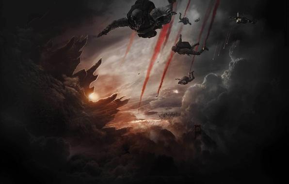 Картинка Dark, City, Action, Fantasy, Fire, Monster, Legendary Pictures, Sun, Smoke, Godzilla, Cloud, Movie, Film, 2014, …