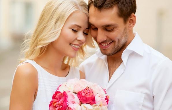Картинка любовь, радость, счастье, пара, summer, happy, flowers, street, couple, romance, dating