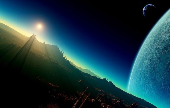 Картинка Планета, Космос, Чужой, Рассвет, Фантастика