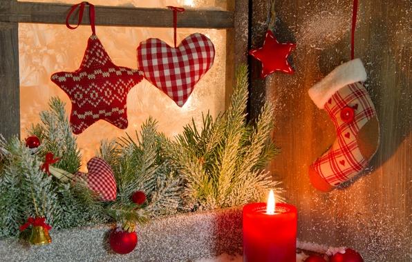 Картинка зима, шарики, снег, ветки, сердце, игрушки, звезда, свеча, ель, Новый Год, окно, Рождество, декорации, Christmas, …