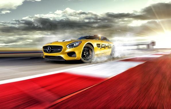 Картинка Mercedes-Benz, Race, AMG, Yellow, Smoke, Track, Drifting, GT S