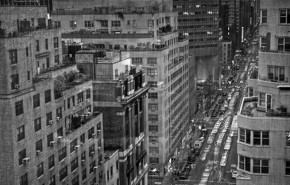 Картинка дождь, чёрно-белая, New York