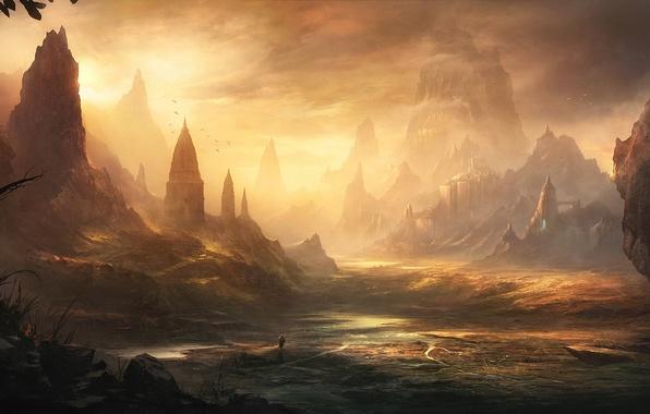 Картинка вода, пейзаж, закат, замок, скалы, человек, долина, арт, крепость, путник