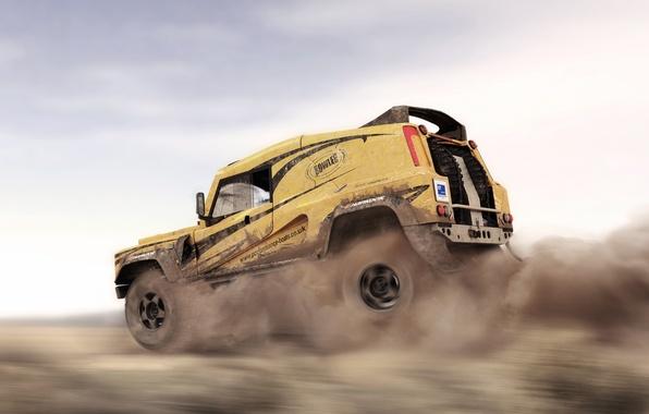 Картинка Авто, Пыль, Пустыня, Машина, Скорость, Land Rover, Dakar, Внедорожник, Defender, В Движении