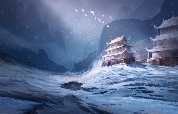 Картинка зима, снег, птицы, азия, арт, храм