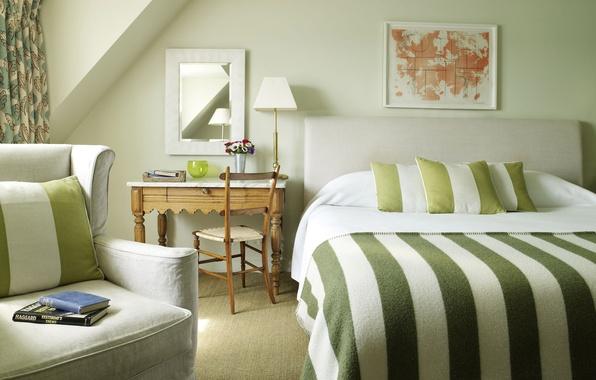 Картинка зеленый, полосы, книги, кровать, спальня