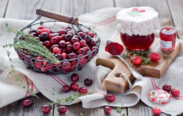 Картинка ягоды, шиповник, баночки, ложка, красные, доска, натюрморт, корзинка, джем, варенье, Anna Verdina, клюква