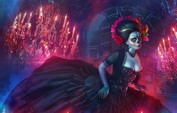 Картинка огонь, платье, люстра, art, dia de los muertos, день мертвых
