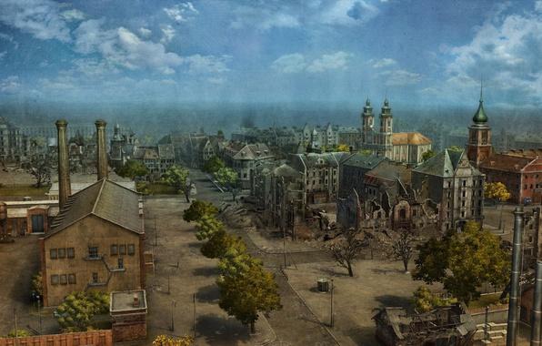 Картинка лето, город, игры, графика, здания, карта, арт, панорама, руины, game, улицы, WoT, Мир танков, World …