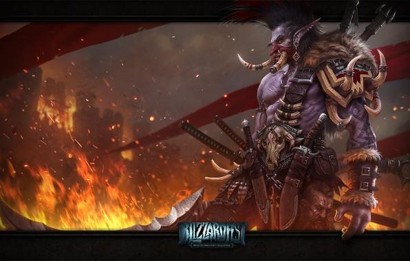 Картинка оружие, замок, пламя, флаги, WoW, World of Warcraft, троль