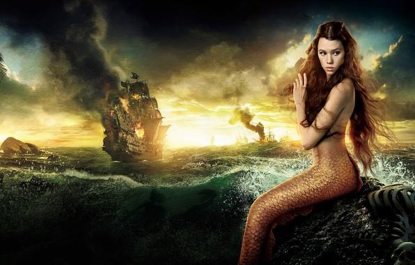 Картинка море, волны, небо, пена, облака, закат, брызги, огонь, берег, корабль, русалка, Disney, Пираты Карибского моря, …
