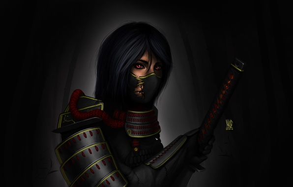 Картинка девушка, темный фон, меч, катана, арт, самурай, повязка, броня, рукоядка