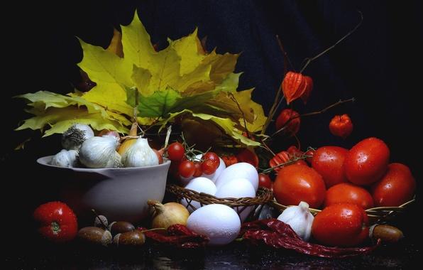 Картинка осень, листья, яйца, урожай, лук, перец, натюрморт, помидоры, желуди, чеснок