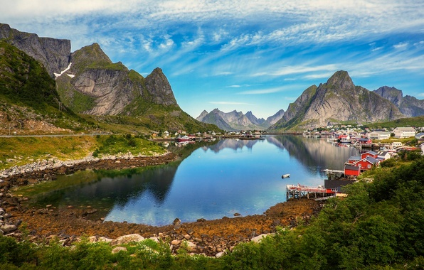Картинка небо, облака, деревья, горы, озеро, дом, камни, Норвегия, поселок, Гудванген