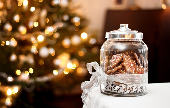Картинка свет, украшения, lights, елка, интерьер, печенье, сладости, Новый год, new year, боке, bokeh, merry christmas, …