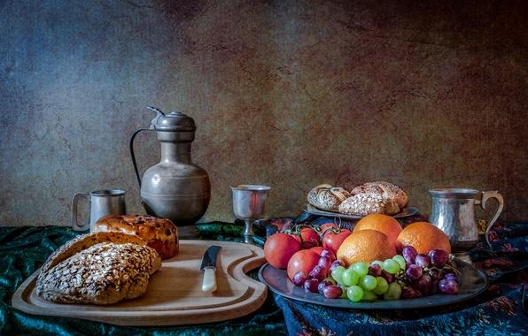 Картинка цветы, ягоды, хлеб, нож, кружка, кувшин, фрукты, натюрморт, томаты