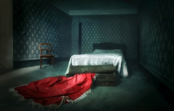 Картинка комната, кровать, стул