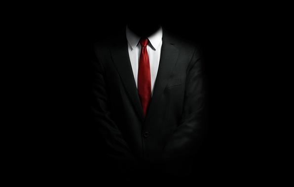 Картинка Костюм, галстук, Hitman, рубашка, черный фон, пиджак