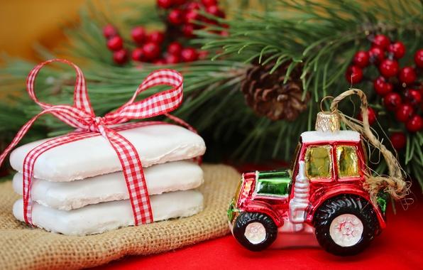 Картинка игрушка, ель, ветка, Новый Год, печенье, Рождество, Christmas, звездочки, шишки, выпечка, ленточка, праздники, New Year, …