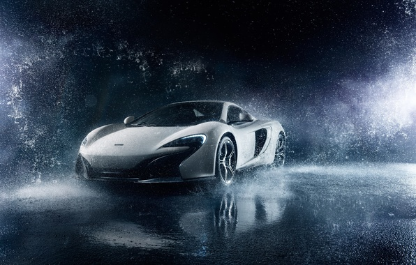 Картинка McLaren, Frozen, Front, Water, White, Supercar, 650S, Ligth