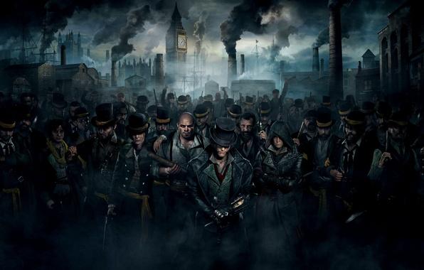 Картинка трубы, улыбка, оружие, люди, дым, толпа, дома, порт, трость, Биг-Бен, борода, банда, шляпы, убийцы, ассасины, …