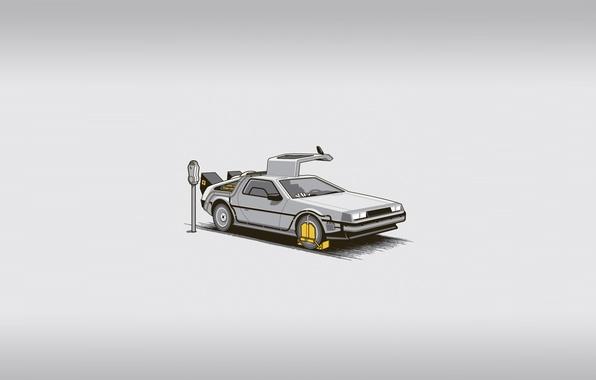Картинка машина, фильм, штраф, минимализм, парковка, машина времени, назад в будущее