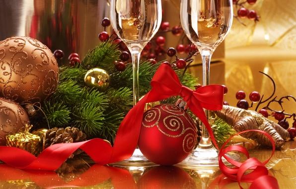Картинка праздник, шары, игрушки, новый год, ель, бокалы, лента, декорации, шампанское, шишки, happy new year, christmas …