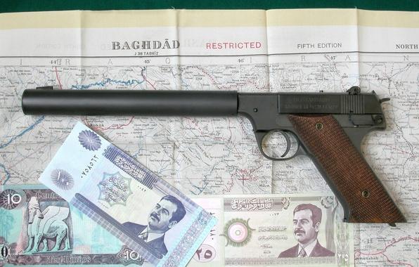Картинка пистолет, оружие, карта, деньги