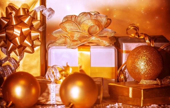Картинка зима, шарики, ленты, игрушки, Новый Год, Рождество, подарки, Christmas, золотые, праздники, коробки, New Year, банты, …