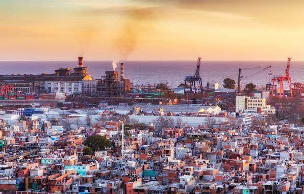 Обои twilight, sea, ocean, sunset, Argentina, houses, dusk, seaside, harbour, cityscape, industry, Buenos Aires, slum