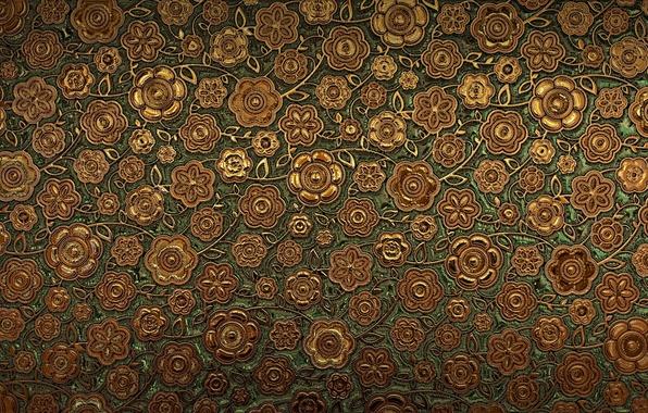 Картинка цветы, узор, текстура, коричневый, орнамент
