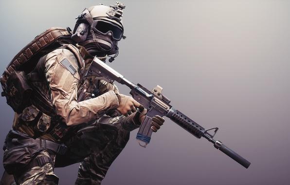 Картинка оружие, фон, солдат, экипировка, Battlefield 4