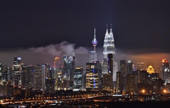 Картинка здания, ночной город, небоскрёбы, Малайзия, Kuala Lumpur, Malaysia, Куала-Лумпур