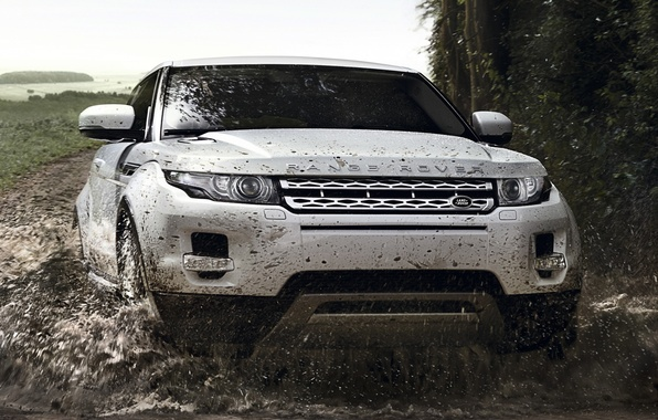 Картинка дорога, белый, брызги, фон, купе, грязь, джип, Land Rover, Range Rover, Coupe, передок, Evoque, кроссовер, …