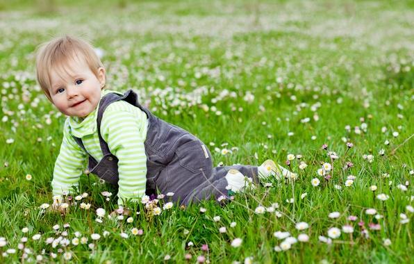 Картинка трава, радость, цветы, дети, игры, ребенок, сад, милый, play, grass, happy, flowers, garden, child, baby, …