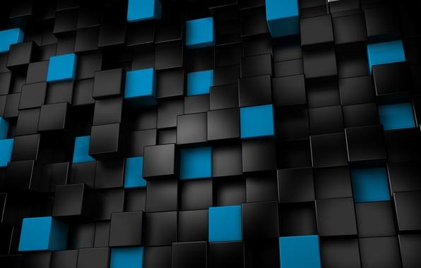 Кубы чёрные синие кубики 3d графика