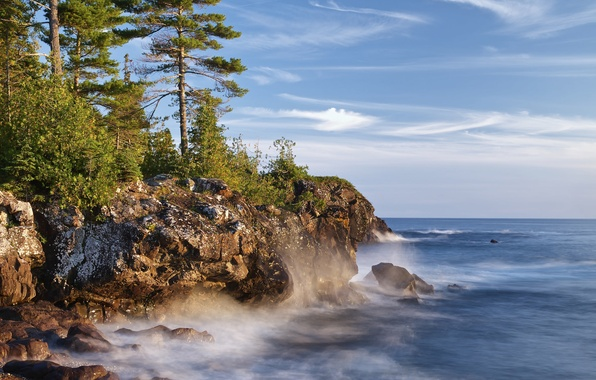 Картинка озеро, скалы, побережье, Канада, Онтарио, сосны, Canada, Ontario, Lake Superior, озеро Верхнее, Великие озёра, Great …