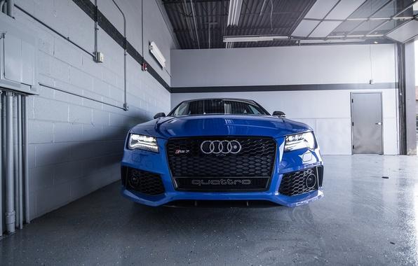 Картинка Audi, Ауди, Синяя, Фары, Blue, RS7