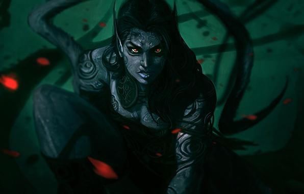 Картинка девушка, узор, монстр, фэнтези, арт, хвост, уши, красные глаза