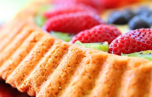 Картинка ягоды, еда, киви, черника, клубника, пирог, торт, пирожное, cake, десерт, food, сладкое, blueberry, dessert, berries, …